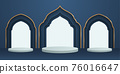 3D illustration of classic blue theme podium scene with islamic pattern for display products and cosmetic advertising. 76016647