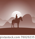 woman on horseback in brown gradient shade nature background illustration vector. 76020235