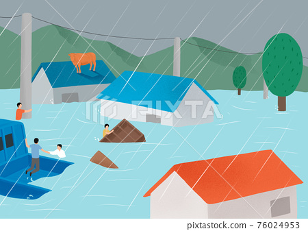 Concept of natural disaster in heavy rainy season. people in need illustration 002 76024953