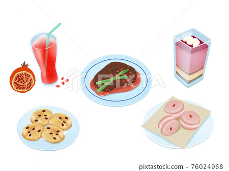 Delicious Korean food and sweet desserts illustration 011 76024968