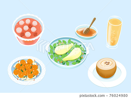 Delicious Korean food and sweet desserts illustration 008 76024980
