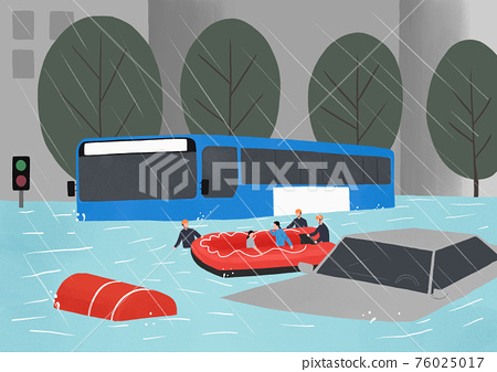 Concept of natural disaster in heavy rainy season. people in need illustration 001 76025017