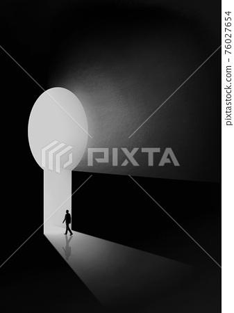 Man walking towards the light from darkness illustration 001 76027654