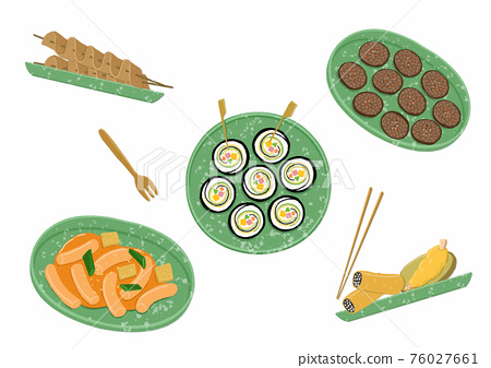 Delicious food dish, Korean snacks illustration 007 76027661