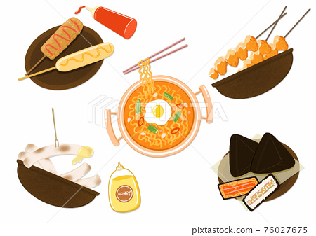Delicious food dish, Korean snacks illustration 003 76027675