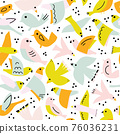 Seamless vector pattern cute flying birds. Abstract Scandinavian style bird shapes collage repeating 76036231