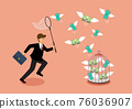 Businessman trying to catch flying money into birdcage 76036907