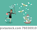 Business woman trying to catch flying money into birdcage 76036910