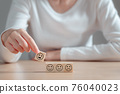 Satisfaction survey concept, Hand of a customer woman chooses a smiley face on wooden block, The best excellent business services rating customer experience. 76040023