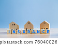 """Text """"INSURANCE"""" on wooden block and house model, Property home insurance protection, family house, concept. 76040026"""