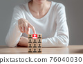 Woman pointing at a wooden block one leader person represented by icon. Leader stands out from crowd, Human resources and corporate hierarchy, recruiter complete team, HR, HRM, HRD concepts. 76040030