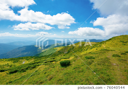Carpathian Biosphere Reserve mountain ridge. green meadows summer landscape of the Chornohirskyi Massif in the eastern carpathians, ukraine. sunny scenery with fluffy clouds on the blue sky 76040544