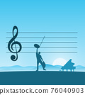 metaphor man composing music with piano with blue gradient shade background illustration vector. 76040903