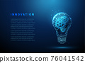 Abstract blue glowing light bulb with gears inside. 76041542