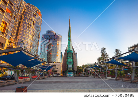 January 15, 2019: Swan Bells, aka The Bell Tower or the Swan Bell Tower, a set of 18 bells hanging in a specially built 82.5 meter high copper and glass campanile in Perth, Western Australia. 76050499