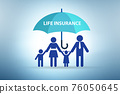 Life insurance concept with family under umbrella 76050645