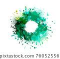 Frame of blots. Grunge Design Element. Brush Strokes. Alcohol ink is green. Vector illustration 76052556