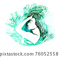 Profile of a beautiful girl in flowers and leaves. Mixed media. Picturesque drawing. Vector illustration 76052558