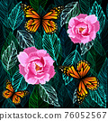 Graphic leaves seamless green pattern with flowers and butterflies. vector illustration 76052567