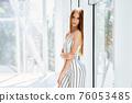 Portrait of pretty beautiful trendy woman posing 76053485