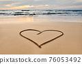 Heart drawn on the tropical beach 76053492