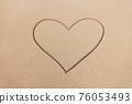 Heart drawn on the tropical beach 76053493
