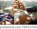 Photo of beautiful slim woman body in white bikini close up 76053499