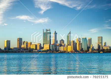 skyline of perth at dusk by swan river in western  australia 76055375