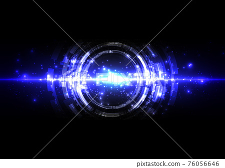 abstract futuristic technology with line wave and lighting on dark blue background. Illustration Vector design technology concept 76056646