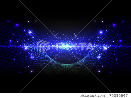 abstract futuristic technology with line wave and lighting on dark blue background. Illustration Vector design technology concept 76056647