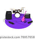 Vector illustration of high-quality detailed Acoustic drum Kit and solo Guitar  with stage amplifier sets.Showtime.Rock music ,Live music instruments.Close-up drum set. 76057658