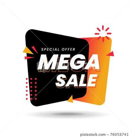 Mega sale label on white background 76058741