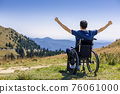 optimistic handicapped man sitting on wheelchair 76061000