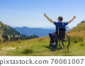 optimistic handicapped man sitting on wheelchair 76061007