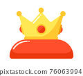 Golden crown king on red pillow isolated 76063994