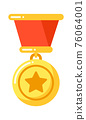 Golden medal with star with ribbon, military insignia 76064001