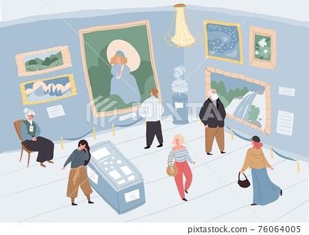 Cartoon flat characters at art gallery exhibition,vector illustration 76064005
