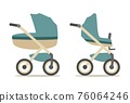 Set baby carriage. Color flat vector illustration isolated on white 76064246