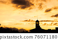 sunset landscape with dramatic clouds 76071180