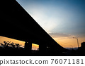 highway bridge silhouette in the city 76071181
