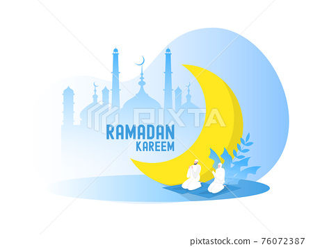 Religious Muslim prayer in traditional clothes full length vertical vector illustrationin mosque background vector graphics 76072387