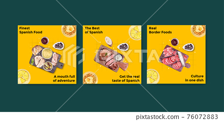 Advertise template with Spain cuisine concept design for marketing watercolor illustration 76072883