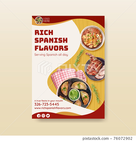 Poster template with Spain cuisine concept design for brochure and leaflet watercolor illustration 76072902