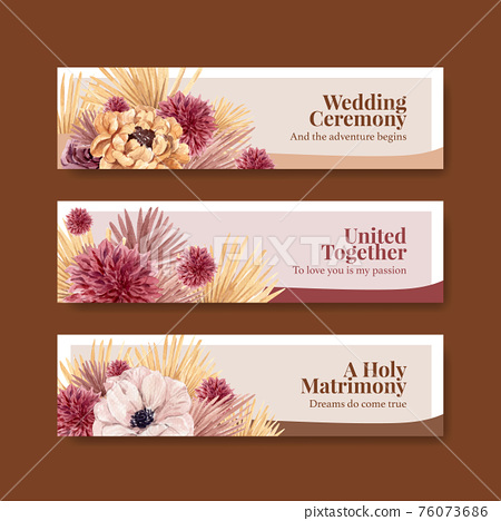 Banner template with wedding ceremony concept design for advertise watercolor illustration 76073686