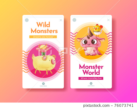 Instagram template with monster concept design watercolor illustration 76073741