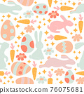 Vector seamless pattern with cute retro icons for Easter design. 76075681