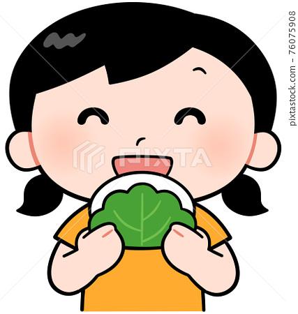 Girl eating salmon 76075908