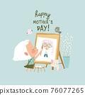 Cartoon little girl painting portrait s mother 76077265