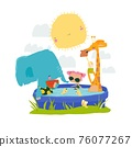 Happy animals and girl relaxing in swimming pool. Hello summer 76077267