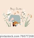 Cute elephant watering flowers in his garden 76077268